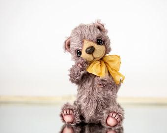 Artist Teddy bear Tomic  - Lavender Collectible bear - OOAK teddy bear