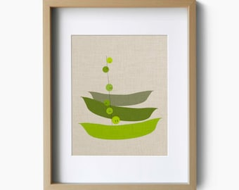 Pea Pod Print - Funny peas escaping the pod - faux linen background - Kitchen Art Print Poster