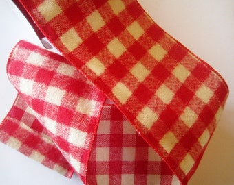 Gingham Fluff Extra Wide Wired Ribbon, Red, 4 inch wide, 1 yard, For Adornments, Gift Packing, Wreaths, Center Pieces, Home Decor