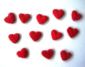 Tiny Hearts Embroidered Appliques, 3/8 x 1/4 inch, Red, x 12, For Dolls, Scrapbook, Apparel, Home Decor, Gifts Accessories