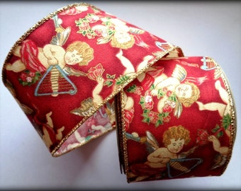 """REMNANT - Victorian Cherub Wide Wired Ribbon, Multi / Red, 2 1/2"""" inch wide, For Home Decor, Gift Baskets, Victorian & Romantic Crafts"""