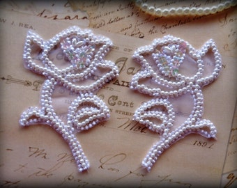 Bridal Pearl Rose Lace Applique , White, x 2, For Bridal, Apparel, Accessories, Costumes, Mixed Media, Romantic Crafts