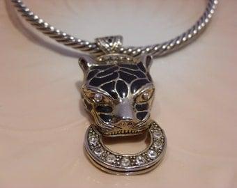 Enamel and Rhinestone Leopard Head Choker Necklace