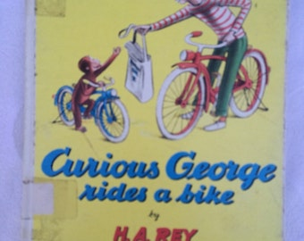 Curious George Rides a Bike, Vintage Hardcover Children's Book