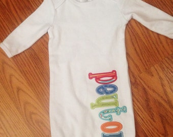 Personalized boy baby infant gown