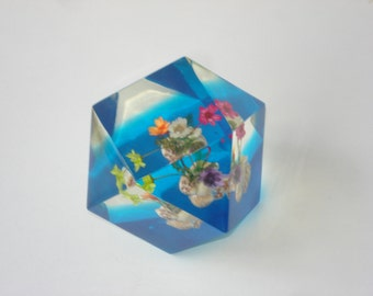 Vintage Lucite Paperweight - Blue and Flower Ornament - Dried Floral - 1970s