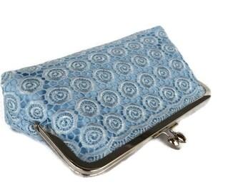 Blue lace roses wedding clutch bag/ Something blue /Bridal accessory clutch/ Romantic wedding clutch / Handmade, Summer wedding bag