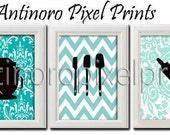 Blues Kitchen Utensils Print Vintage / Modern inspired Art  -Set of (3) - 8 x 10 Prints - Turquoise  White Color (UNFRAMED)