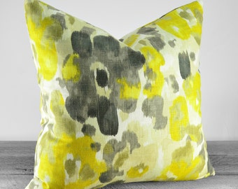 Pillow Cover - Robert Allen Fabric Landsmeer Citrine Fabric - Citrine Yellow, Charcoal, Tan, Gray - Pick Your Pillow Size