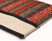 "iPad Pro Sleeve, Macbook Air 13"" Retina display bag Padded Laptop Case with Zipper Pocket, padded - red gold boho stripes"