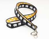 Fabric Key Chain Lanyard , ID Neck Strap, Swivel Clip ID Holder, Teacher Lanyard ID Badge - white elephants in dark blue with yellow dots