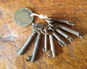 Antique Iron Skeleton Door Gate Keys ~ Set of 8