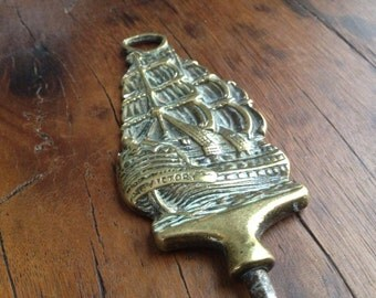 Vintage English Brass Corkscrew Bottle Opener // Nautical Victory Galleon Ship