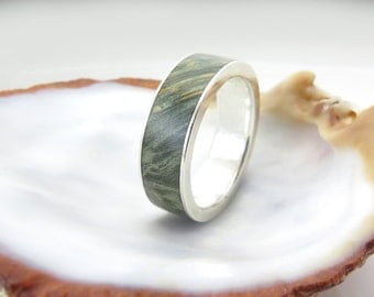 Silver purity ring,Stabilized wood,Green Maple Burl ,Wood Ring