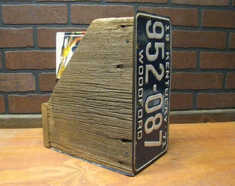 MAGAZINE rack holder made from vintage barn wood and license plates holds books and mail too