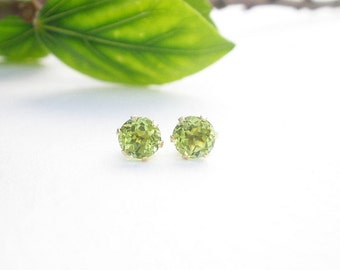 Natural Gemstone Peridot Faceted 5mm Round Shape 14kt Yellow Gold Stud Style Earrings