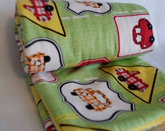 "Green Baby boy cotton blanket with cars and trucks 39""x30"""