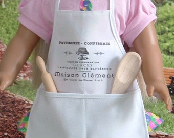 French Bakery Apron and Tools for American Girl Doll