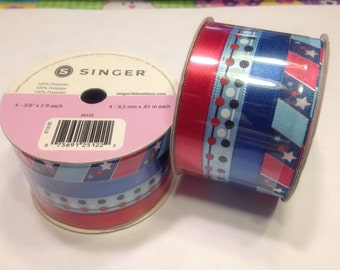 set of 4 different red white and blue ribbon (BR14)