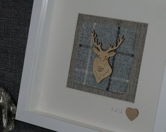 Stags head on Tweed Framed Gift