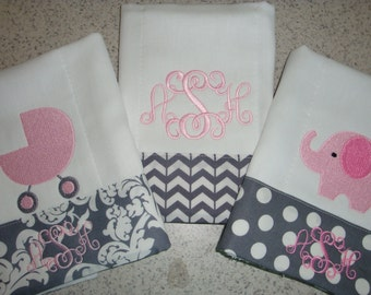 Baby Girl Burp Cloths Monogrammed