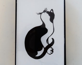 Cat Paper Cutting Framed Picture Whimsical and Adorable