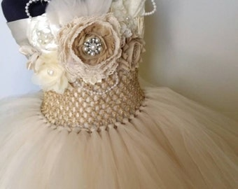 champagne flower girl dress flower girl tutu dress come with headband Size newborn to 12 years old
