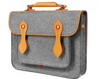 """Macbook Satchel Felt Briefcase Shoulder Bag Laptop Bag Messenger Bag with Genuine Leather Handle for Macbook Air 13"""""""