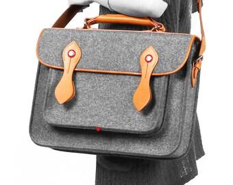 """Macbook Satchel Felt Briefcase Backpack Shoulder Bag Macbook Bag Messenger Bag Laptop Bag with Genuine Leather Handle for Macbook Pro 15"""""""