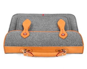 "Backpack Briefcase Wool Felt Macbook Case with Genuine Leather Top Handle Shoulder Bag for 13"" Macbook Pro Retina"