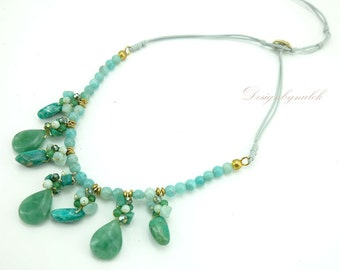 Green agate,jade,crystal on cotton thread necklace.