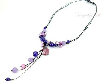 Purple amethyst,lapis on cotton cord necklace.