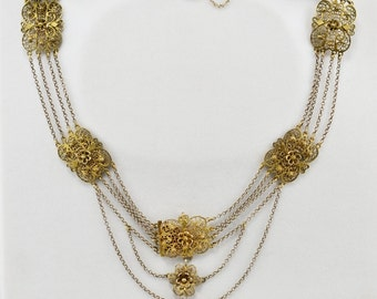 Spectacular Victorian Sicily gilded silver filigree necklace