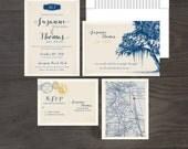 Destination wedding invitation Vintage Florida Oak Tree with Spanish Moss  - Wedding Invitation and RSVP card Design fee
