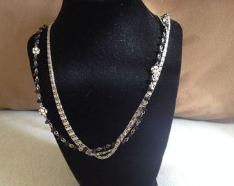Vintage Three Strand Black Bead and Silvertone Necklace with Rhinestone Accents