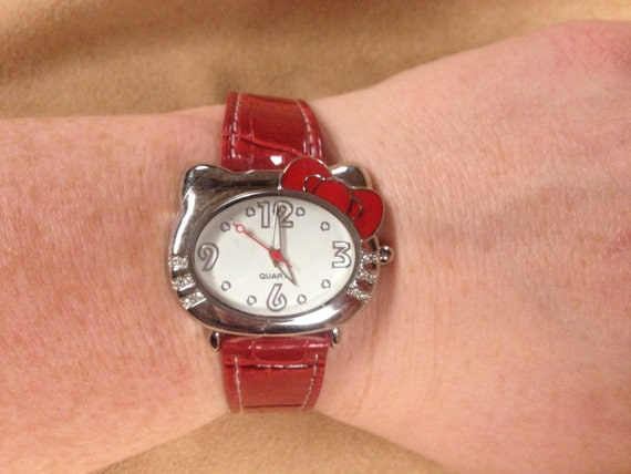 Vintage HELLO KITTY Wrist Watch with Red Strap and New Battery