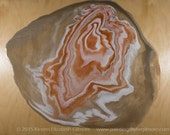 Poured Agate Painting 8: an abstract original pour painting on 16X20X1.5 inch birch wood panel in coral, peach, white, gray