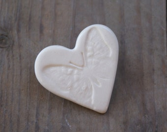 Butterfly Heart shaped ceramic brooch in White