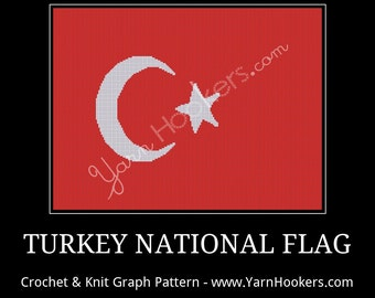 Turkey National Flag - Afghan Crochet Graph Pattern Chart - Instant Download