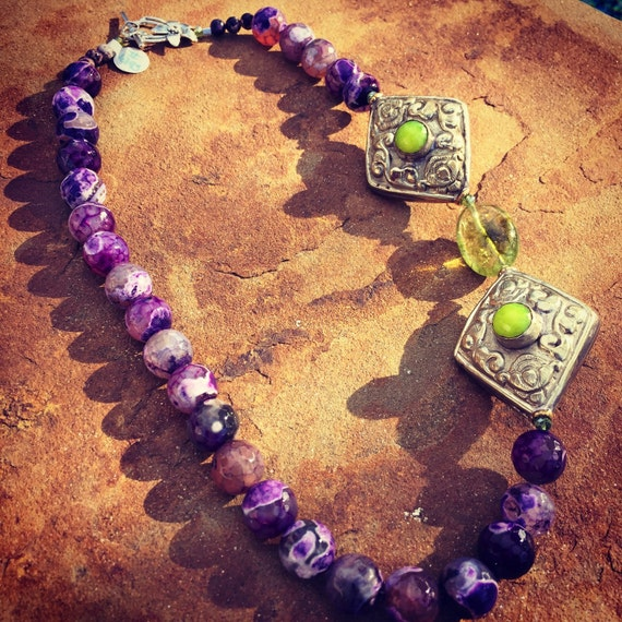 Purple Fossil Agate and Peridot Boho Statement Necklace and Earring Set