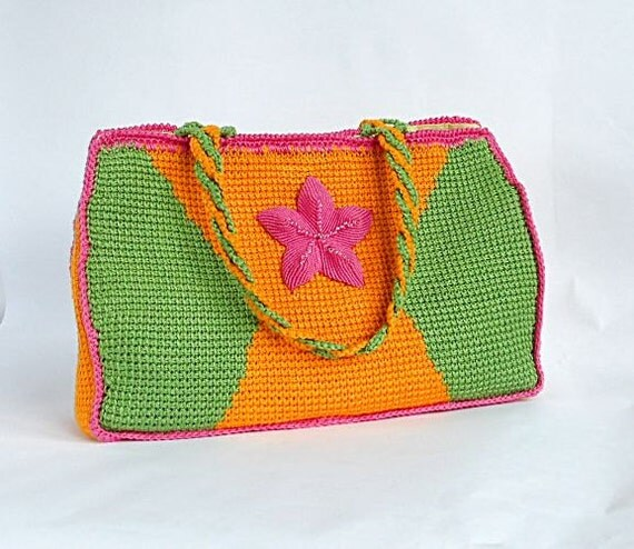 Crochet bag PDF pattern Flor del valle tunisian crochet