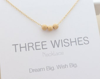 Three Wishes Necklace. Stardust Beads Necklace. bridesmaid gift. bridesmaid jewelry. best friend gift. delicate necklace. delicate jewelry