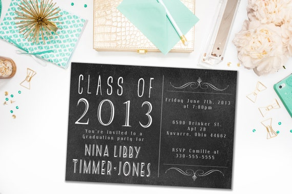 Graduation Party Invitations / Retro, Chalkboard, Party Invite for Graduate / Class of 2015 / Class of 2016 / Digital or Printed Cards