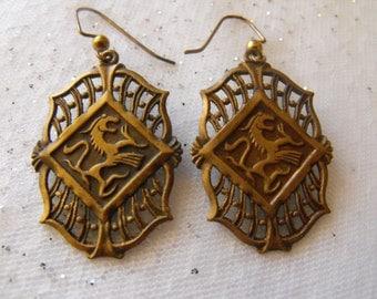 Vintage Gold tone dangle earrings - DRAGON Earrings - Medievil Dragon Earrings