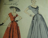 Vintage 1950's Advance 6443 Hannah Troy Designer Series Dress Sewing Pattern, Size 14, Bust 32