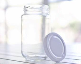 80 new 375ml glass jars - White / black / gold / silver metal lids - 12.8cm tall