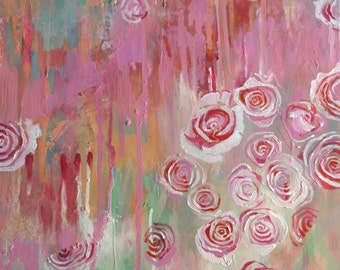 "Modern Art Print-- Archival Print of Original Painting-- ""Rose"""