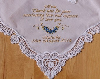 Wedding Handkerchief Embroidered to Mother of Bride Monogrammed Personalized Custom