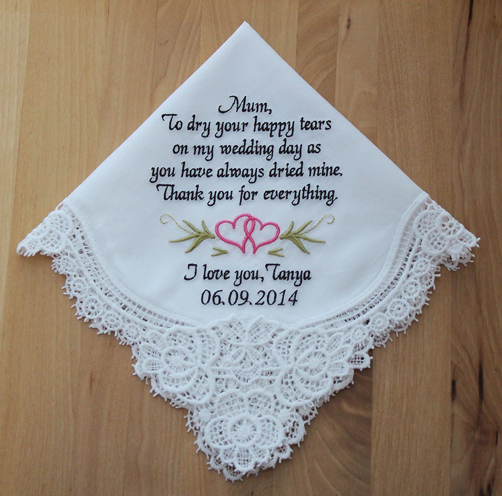 wedding handkerchief embroidered to mother of the bride