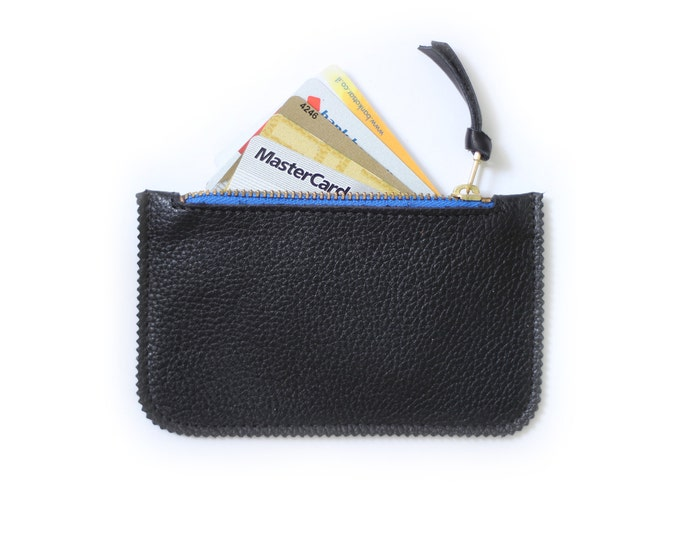 Black coin purse, leather card holder, small coin purse